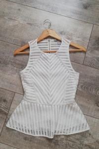 Biała bluzka koronka z baskinką H&M...