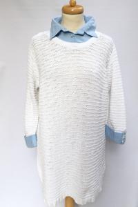 Sweter Bialy Koszula Kołnierzyk Peruna 4XL 48 Biel Tunika...
