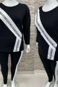 Bawełniany dres 54 56 czarno biały...