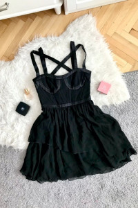 Versace dla H&M 38 M czarna sukienka jedwabna jedwab gorset sex...