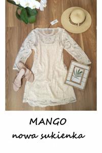 Nowa z metką kremowa ecru sukienka Mango Casual bawełna koronkowa