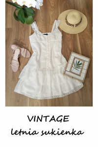 Biała letnia sukienka S M Laura Scott koronka falbany