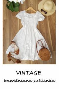 Biała boho sukienka vintage bawełna XS wyszywana z koronką...