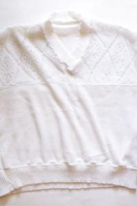 dzianionowa bluzka kimono biały top ze srebrną nitką...