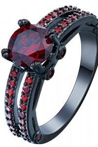 Nowy pierścionek czarny czerwone cyrkonie goth dark retro pin u...