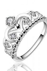 Nowy pierścionek srebrny kolor korona tiara diadem cyrkonie...