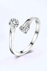 Nowy pierścionek srebrny kolor białe cyrkonie otwarty elegancki...