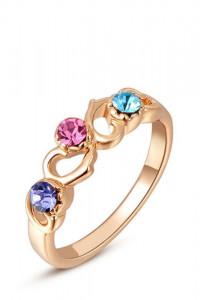 Nowy pierścionek złoty kolor jak różowe złoto kolorwe cyrkonie fairy