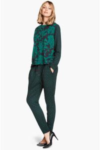 Bluza H&M L 40 granatowa zielona wzór roślinny floral zamek kom...