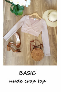Basic bluzka top nude minimalizm S crop top...
