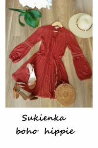 Boho hippie jesienna sukienka rozkloszowana S M...