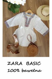 Boho hippie Zara biała bluzka bawełna basic...