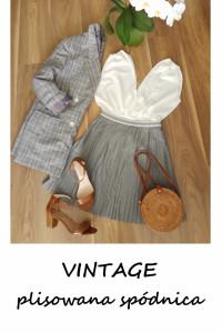 Szara plisowana spódnica vintage M L...