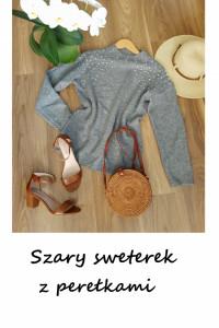 Sweterek półgolf z perełkami szary S M L...