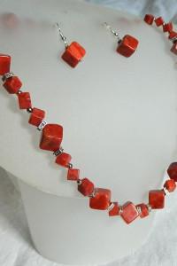 Koral czerwony i srebro geometryczny zestaw biżuterii...