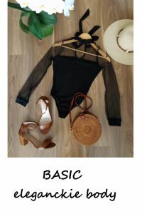 Basic czarne body długi rękaw XS S minimalizm...