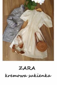 Kremowa sukienka Zara S M L oversize baby doll...