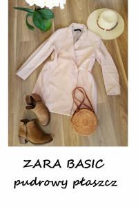 Pudrowy płaszcz Zara Basic M jesienny płaszczyk