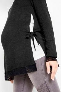 Antracytowy sweter ciążowy wiązany na bokach 40 i 42