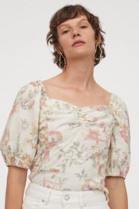 Nowa bluzka top hiszpanka H&M 36 S naturalna wzór floral kwiaty...