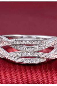 Nowy pierścionek srebrny kolor posrebrzany małe cyrkonie elegan...