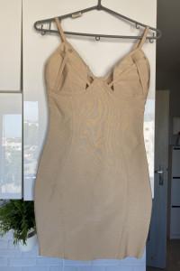 cielista bandażowa sukienka nude gorsetowa wyszczuplająca...