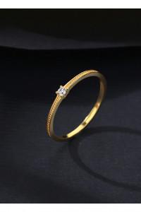 Nowy mały drobny cienki pierścionek złoty kolor pozłacany srebro 925 cyrkonia oczko