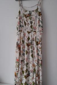 Biała letnia sukienka motyw ptaki rośliny 42 44...