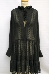 Sukienka Czarna H&M 44 XXL Plażowa Tłoczony Wzór Rozkloszowana...