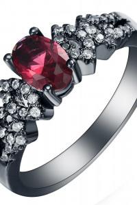 Nowy pierścionek czarny retro styl czerwona cyrkonia białe oczk...