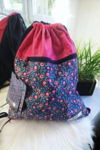 Premium Paso Plecak typu worek kwiaty granatowo różowy
