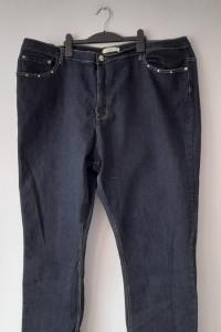 Granatowe elastyczne jeansy z wysokim stanem 54...