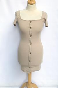 Sukienka NOWA Beżowa H&M XS 34 Prążkowana Ołówkowa...