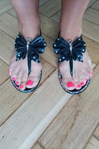 Sandały japonki damskie Motyl