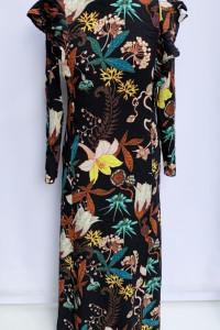Sukienka H&M Kwiaty Long Prosta Czarna Kwiatki S 36...