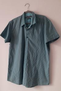 SMOG Niebieska męska koszula w pasy XL...