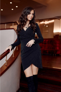 Czarna brokatowa sukienka kod 230 34 36 38 40 42 44...