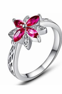 Nowy pierścionek kwiat różowy lilia srebrny kolor cyrkonie flor...