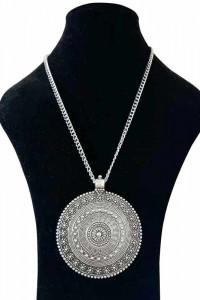 Nowy naszyjnik srebrny kolor boho hippie etno tribal tybet mand...