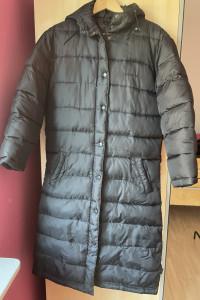 Zophie długi czarny zimowy płaszcz ciepły pikowany