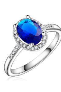 Nowy pierścionek srebrny kolor niebieska cyrkonia zdoiony białe oczka retro
