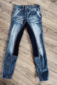 Bryczesy CRW jeansowe spodnie jeździeckie do jazdy konnej rozmi...