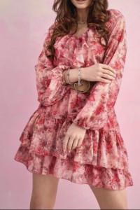 Syfonowa sukienka w kwiaty...