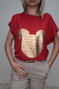 HIT T shirt czerwony ze złota Myszką Miki 3XL...