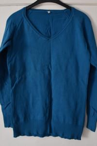 Cienki prosty turkusowy sweterek bluzka z dekoltem V rozmiar M ...