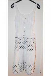 Letnia biała bawełniana sukienka midi w czarne kropki rozmiar M...
