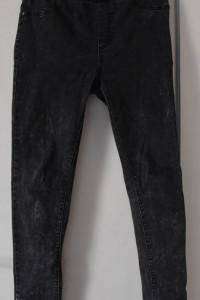 Marmurkowe ciemnoszare bawełniane spodnie z wysokim stanem typu...