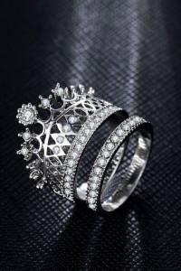 Nowe pierścionki komplet zestaw korona tiara srebrny kolor biał...