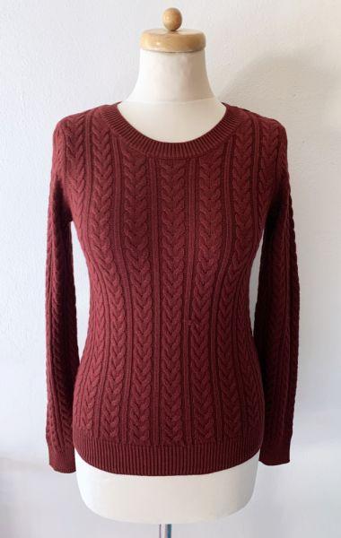Swetry Sweter Bordowy Warkocze H&M XS 34 Bordo Warkocz