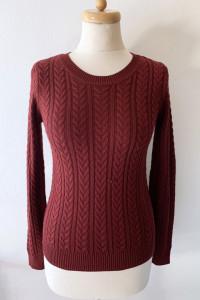 Sweter Bordowy Warkocze H&M XS 34 Bordo Warkocz